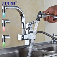 YANKSMART LED Deck Mounted Pull Out Kitchen Faucet Chrome Finish Mixer Tap Single Handle Dual Sprayer