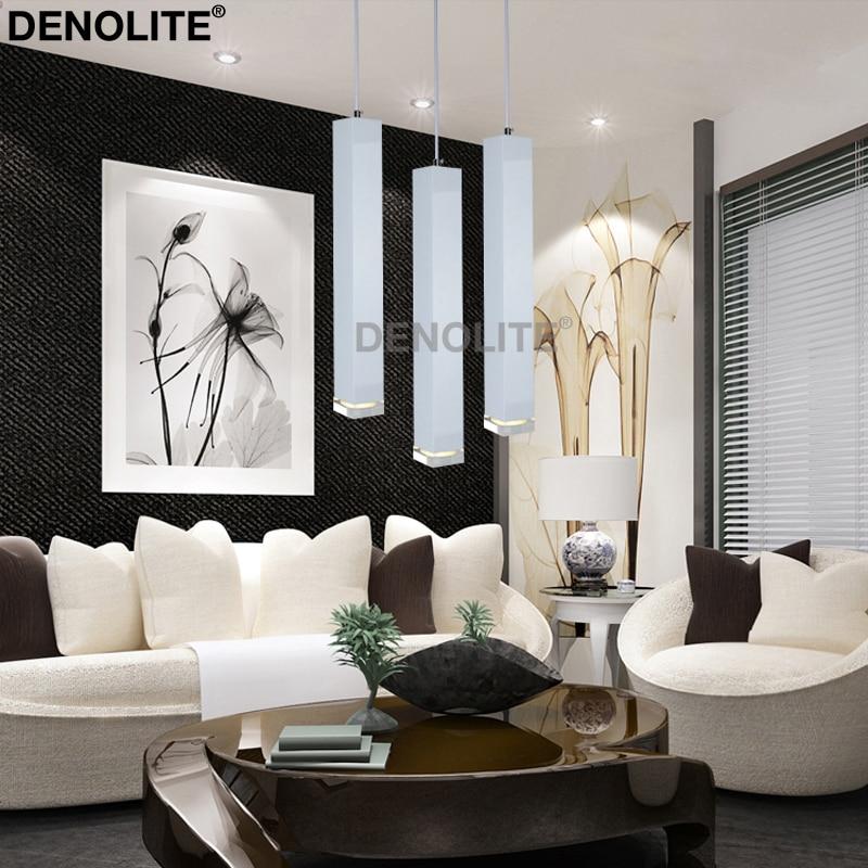 denolite custom whiteblack single led pendant light restaurant bar hotel creative art decoration square hanging lights lamp in pendant lights from lights