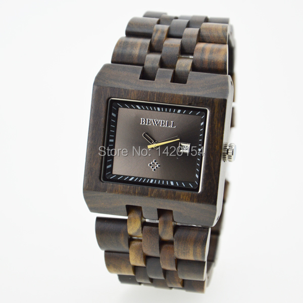 Bewell Square Face Black Sandalwood Natural Wood Watch with Wood Watch цена
