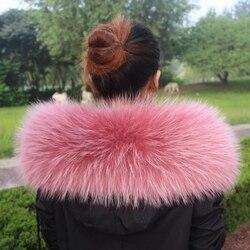 Colorful Genuine Raccoon Fur Detachable Collar Scarfs Fashion Coat Sweater  Luxury Raccoon Fur Collar TKC006-pink