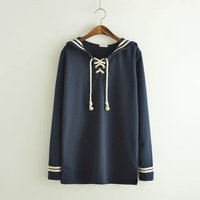 Mori ragazze Giapponesi Stile Navy Manica Lunga Sailor Collar Stripe T shirt Donna Pullover Femminile Autunno Apring T-Shirt Top