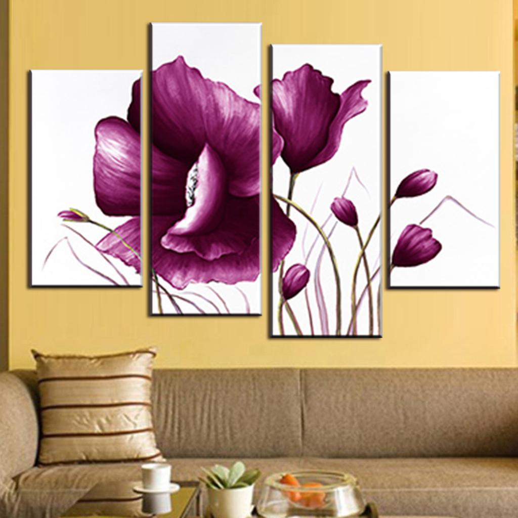Wall art flower painting - Aliexpress Com Buy 4 Pcs Set Romance Big Flower Painting Modern Purple Flower In White Background Painting Print On Canvas Living Room Decor From Reliable