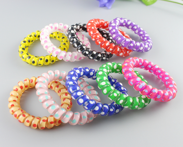 Hair Scrunchie Korean Candy Colored Telephone Wire Style Elastic Band Rope  or Bracelet for Women Jewelry Hair telephone rope 32d40595559