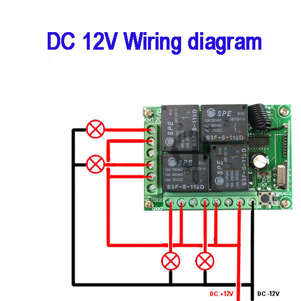 Qiachip 433mhz Universal Wireless Dc 12v Remote Control Switch 4ch Relay Receiver For Electric Gate Light L Car Garage Doorin Controls From: Remote Control 12v Dc Switch Wiring Diagram At Eklablog.co