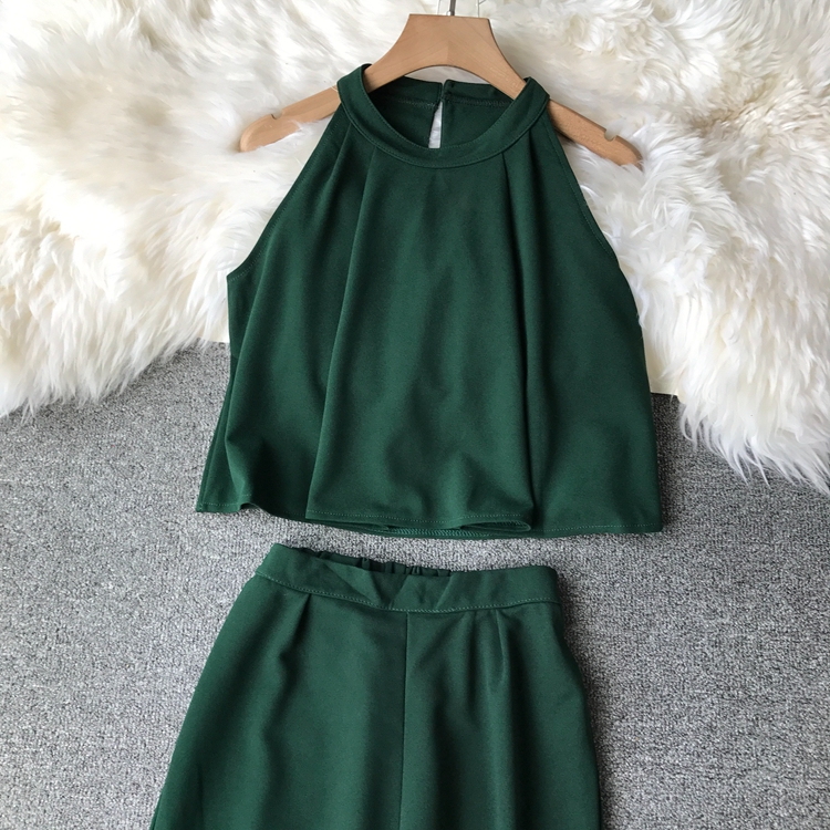 HTB1D6MyVq6qK1RjSZFmq6x0PFXa7 - two piece set women fashion sexy short top and long pants casual sleeveless Elastic high waist female summer festival clothing