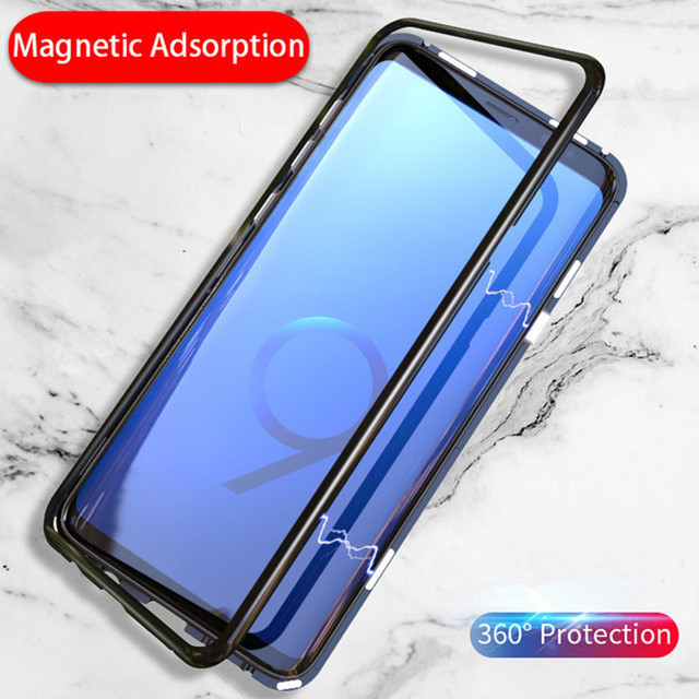 reputable site a18cb 7dea6 US $4.96 |Magnetic Adsorption Phone Case For Samsung Galaxy Note 9 Luxury  Metal Absorption Back Glass For Samsung Note 8 Cover Flip Case-in Fitted ...