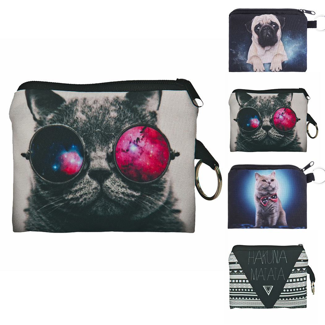 Animal Cat Coin Purses Holder Women Mini Cartoon 3D Cat Dog Wallets Girl Kids Money Bag Coin Bag Children Zipper Small Pouch