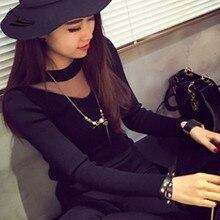 2017 Autumn Women Shirt Round Neck Long Sleeve Sheer Mesh Patchwork Black Tops Blouse