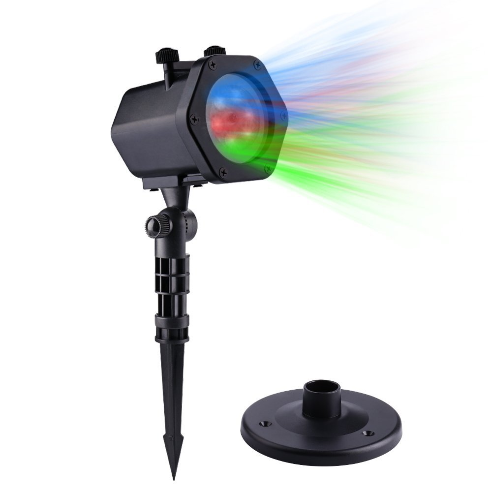 New LED Lights ProjectoRr Automatic Rotating RGB Waterproof Projection Lights Fairy Landscape Spotlights with 12 Dynamic Slides