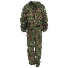 2016 Date Réaliste Chasse 3D Tactique Camo Feuille Camouflage Costumes Ghillie Bionic Formation Costume Ensemble CS Sauvage Kit De Stockage