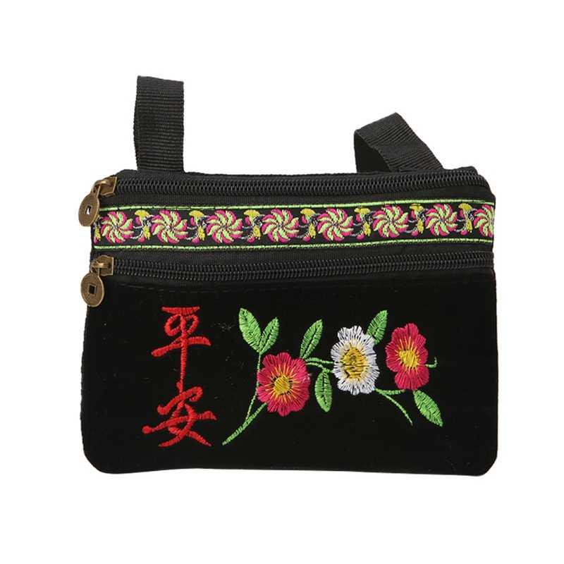 新しい女性クロスボディハンドバッグ刺繍花旅行ショルダーバッグ女性ファッション糸くず黒ショルダーバッグ中国風