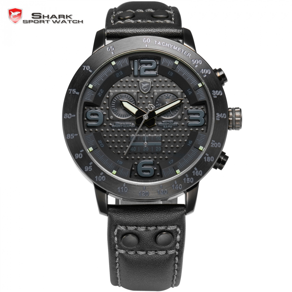 Prix pour Longfin SHARK Sport Montre Hommes Montres En Acier Noir Complet Chronographe Véritable Bande de Cuir Analogique Escalade Quartz Horloge Cadeau/SH401