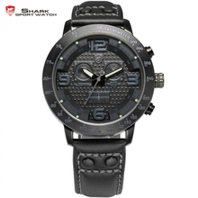 Aleta larga shark sport reloj de los hombres relojes de acero completo negro cronógrafo analógico banda de cuero genuino escalada cuarzo reloj de regalos/sh401