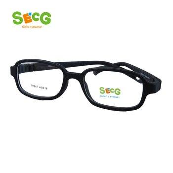 Montura de gafas de niño para ordenador óptico SECG, gafas de plástico de resina de titanio para niños, gafas protectoras para miopía TR867