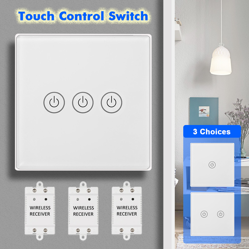 30m RF Bridge Touch Control Wireless Smart Light Switch+Receiver 1/2/3 Gang for Household Appliances Unlimited Connections30m RF Bridge Touch Control Wireless Smart Light Switch+Receiver 1/2/3 Gang for Household Appliances Unlimited Connections