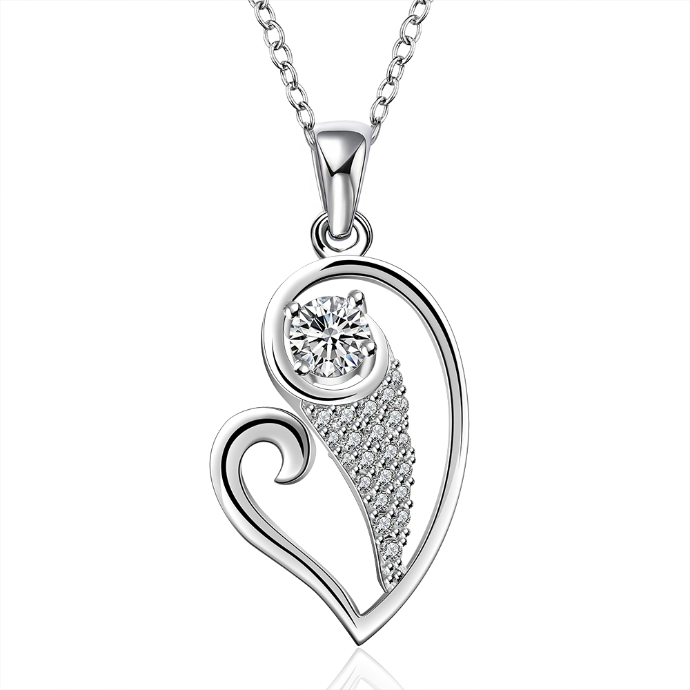 79c48208d257 925 sterling argent ouvert sweet heart avec chute de pierre en cristal pendentif  collier pour les femmes de mariage partie fine de mode à la mode jewerly
