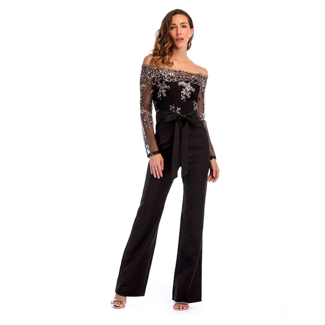 671d2914be1a plus size rompers womens jumpsuit 2018 summer off shoulder black jumpsuit  pants long sleeve one piece