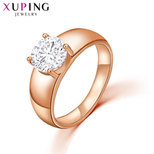 Xuping Fashion Ring New Arrival Top Sale Unique Beautiful Rose Gold Color Plated Synthetic CZ Party Rings Jewelry Women 12838