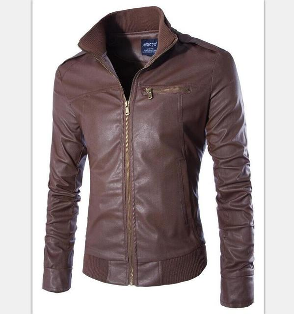 Кожа и Замша мужская Тонкий кожаные куртки Новый мужской моды верхней одежды Мотоцикл куртки Размер M-3XL