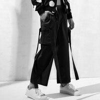 Hot Men personalizzati dritto pantaloni allacciatura utensili pantaloni corti maschio street style di moda pantaloni di Grandi dimensioni Otto pantaloni 27-44