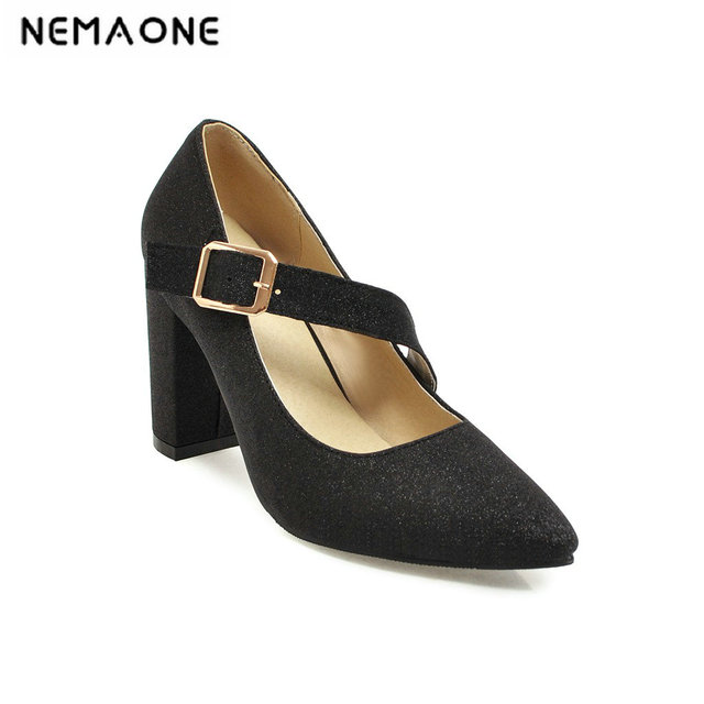 1e10b4cc2774 2019 New Women mary janes thick high Heels platform Shoes poined toe buckle Ladies  Shoes black gold silver purple