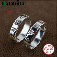 BALMORA 1 Piece 100% Real 925 Sterling Silver Six Words Buddhism Rings for Women Men Lovers gifts Couple Rings Jewelry SY20416