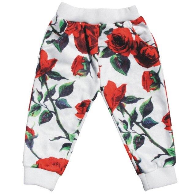 31e9af7c Штаны для девочек с красными розами, розничная продажа, Детские теплые штаны  на весну и