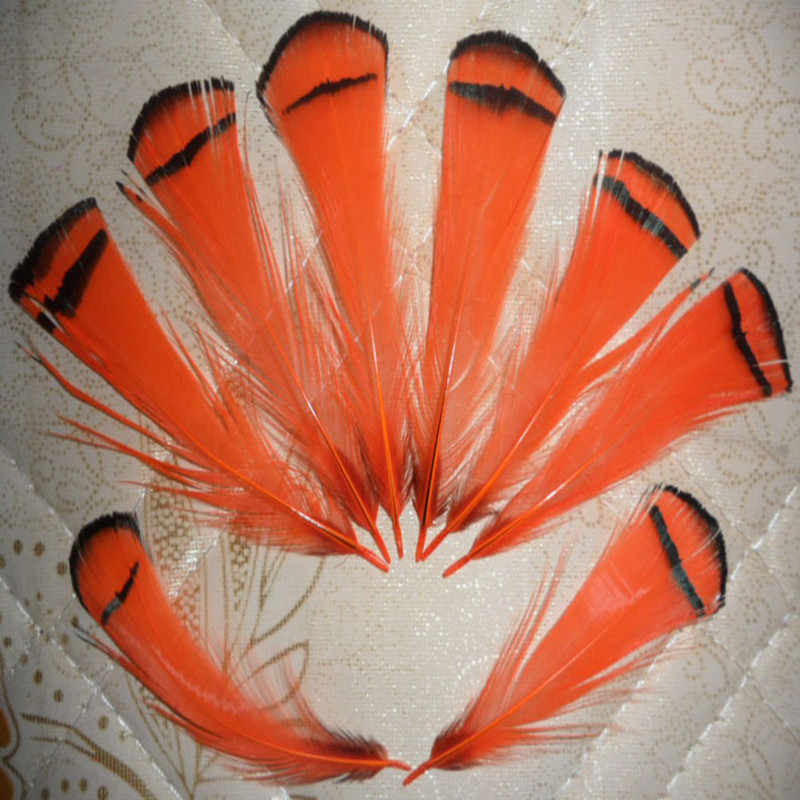 wholesale Scarce 20pcs high quality natural cover chicken feather 4-8cm / 2-3.5inch variety of decorative film orange