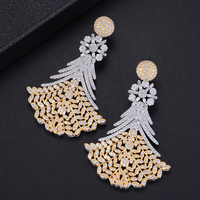 61mm Fashion Three Colors Triangle Fans Geometric Hollow Full CZ Drop Dangle Earrings For Girls Women Party