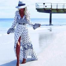 Women Summer Beach Bohemian Print Long Dress V Neck Kimono Sash Wrap Flare Sleeve Split Sexy Dress Elegant Ladies Maxi Dresses