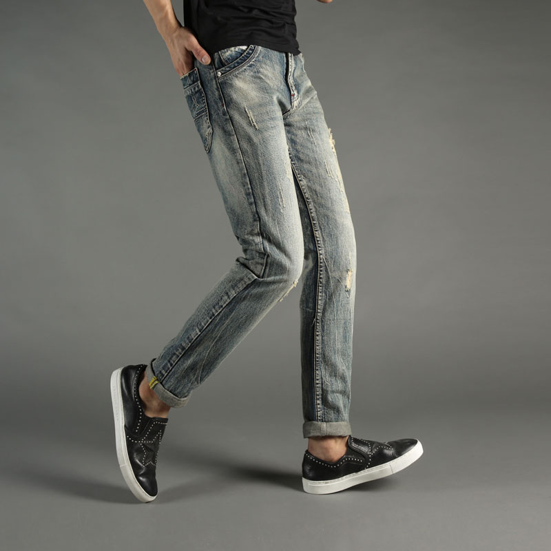 цена на Balplein Brand Mens Jeans Vintage Retro Denim Pants Slim Fit Men Jeans Italian Style Ripped Jeans Destroyed Biker Jeans Men