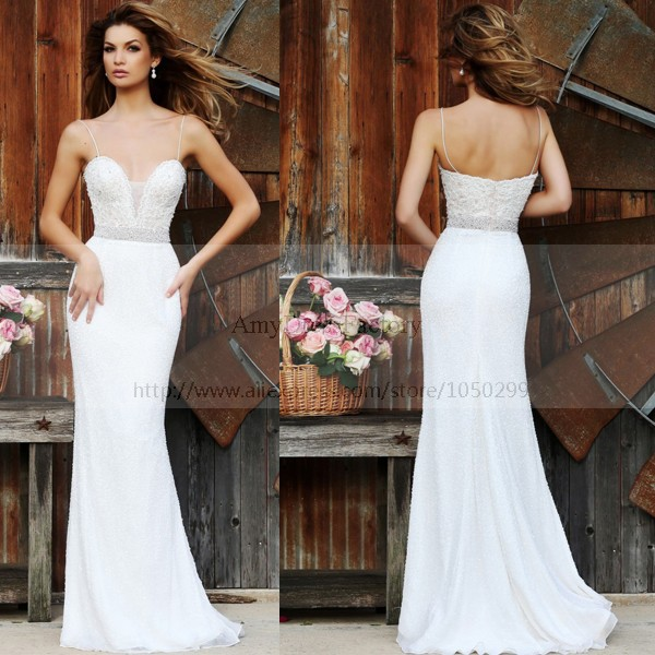 Ivory Sexy Spaghetti Strap Plunge Neck Long Fitted Prom Gown Top