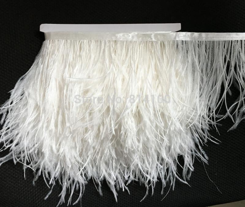 2yards Lot Raw White Color Ostrich Feather Plumes Fringe Trim 10 15cm Boa Stripe