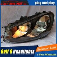 2009 2012 for vw golf headlights car styling For vw golf 6 DRL LED head lamp tear eyes bi xenon lens led parking lights