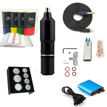 Qink Tattoo Pen Machine Kit Cartridge Needles Foot Pedal Power Supply Ink Caps Holder Set for Shader Liner