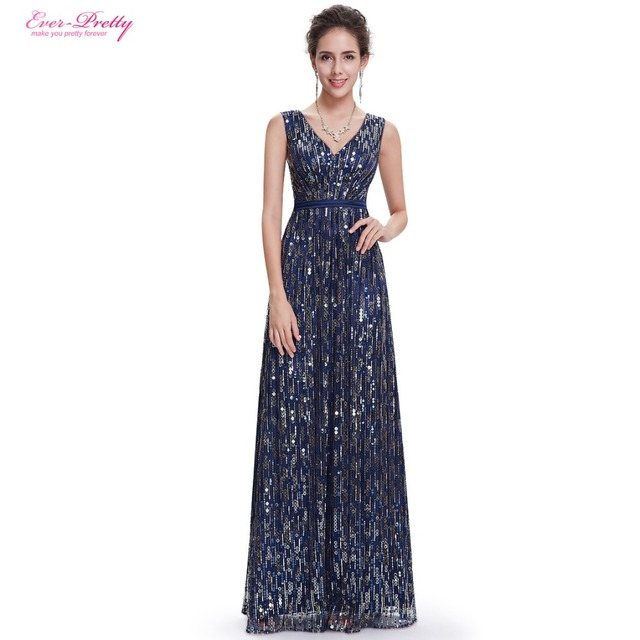 Evening dresses Ever Pretty EP08669NB Women Elegant Gorgeous Sexy Navy Blue V-neck Long Prom Dresses 2017 New