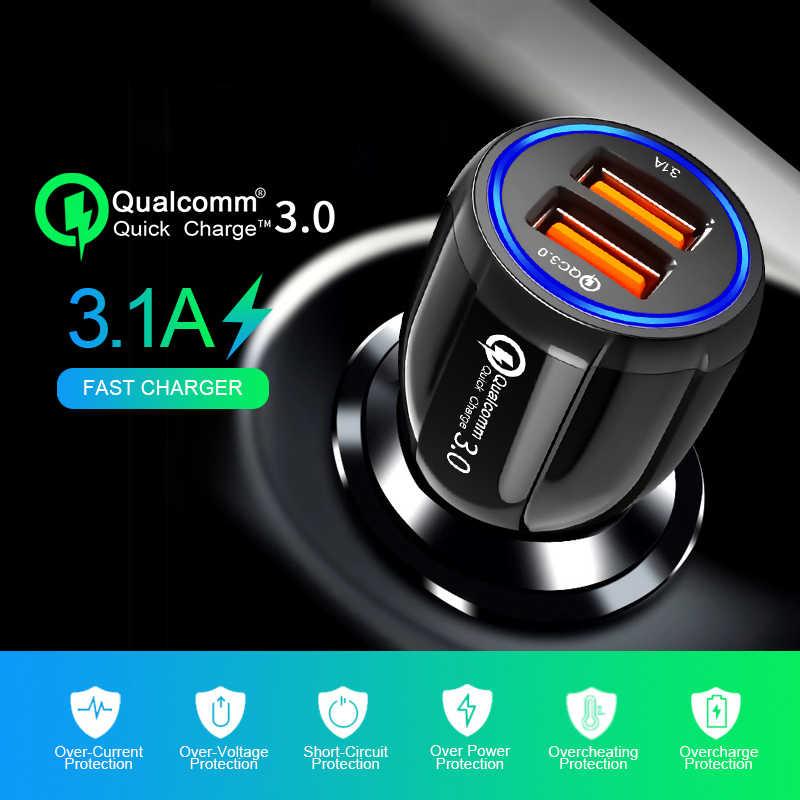 Cepat Pengisian Charger Mobil Ganda Usb Adaptor 3.1A Auto Kendaraan 2 Port USB Universal Cerdas Charger untuk Ponsel Pintar/ tablet