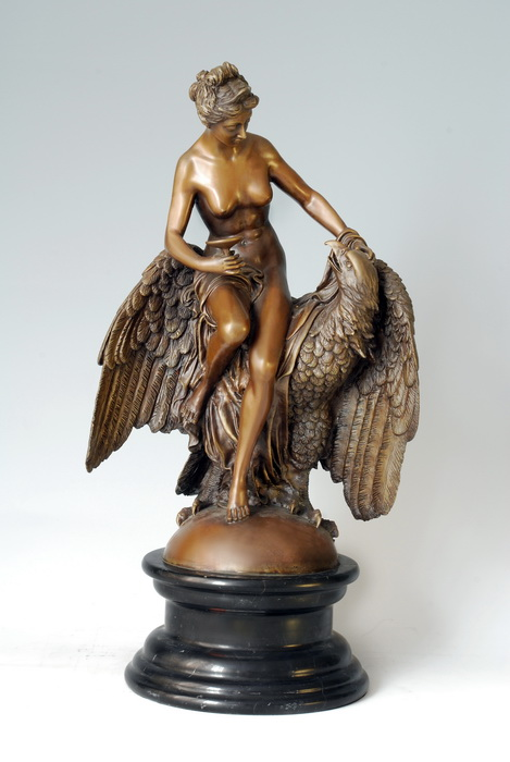 ATLIE BRONZES Classical sculptures western mythology HeBo godness and mighty eagle bronze sculpture Home Decoration