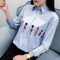 H. SA Mujer Primavera Verano Camisas Blusas de Gasa Azul de Dibujos Animados Impreso Coreano Blusa de La Gasa Túnica de Verano Tops Camisetas mujer
