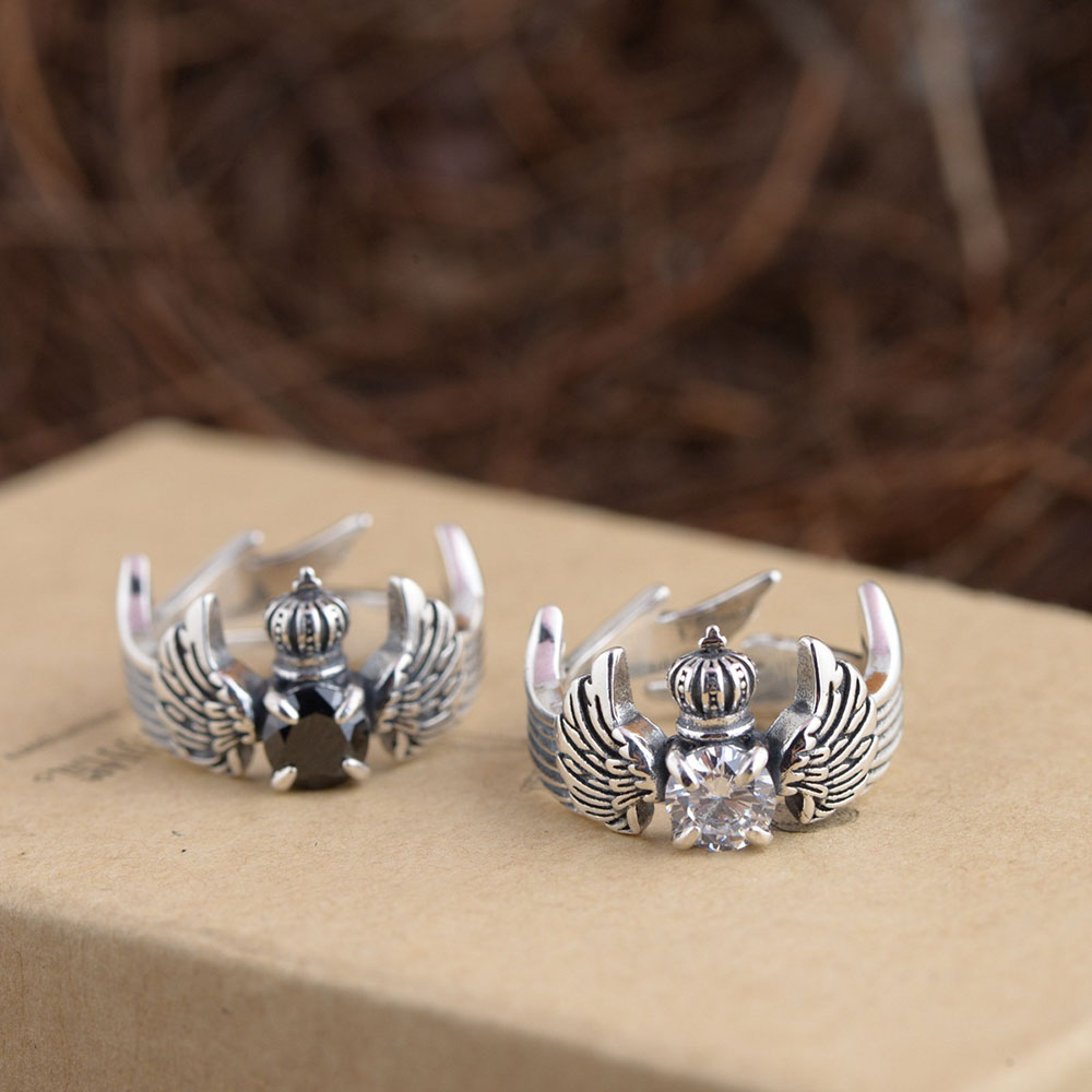 925 Silver Crown Ring Black White Cubic Zircon 100% Real ...