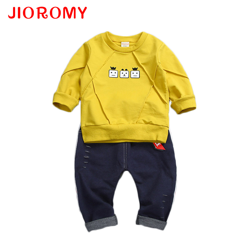 JIOROMY Kids Clothing Set New 2017 Autumn Baby Boy Girl Children Sweater Suit 2 Piece Korean Long Sleeved Chlidren Clothes Suit