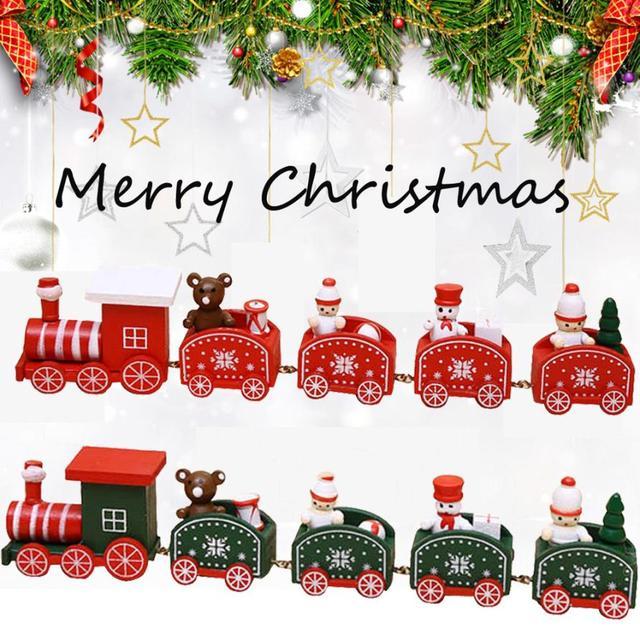 vehicle education christmas train toys wood christmas xmas train decoration decor gift children stitching toys ka