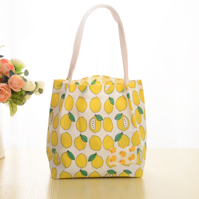 PACGOTH Lunch bag pouch storage bag for women summer yellow lemon Pear pattern portable picnic tote Foldable lunchbag 20 x 20cm