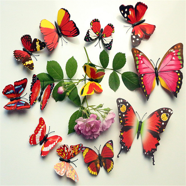 12pcs Color Butterfly Wall Stickers christmas decortion for hoom Magnetic Pin Decorative Sticker for Bedroom decor Butterfly