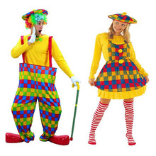 Adults Colorful Clown  Lovers Women Men Clown Cosplay Costumes  Masquerade Party  Decoration  Year  Costume  Christmas Halloween