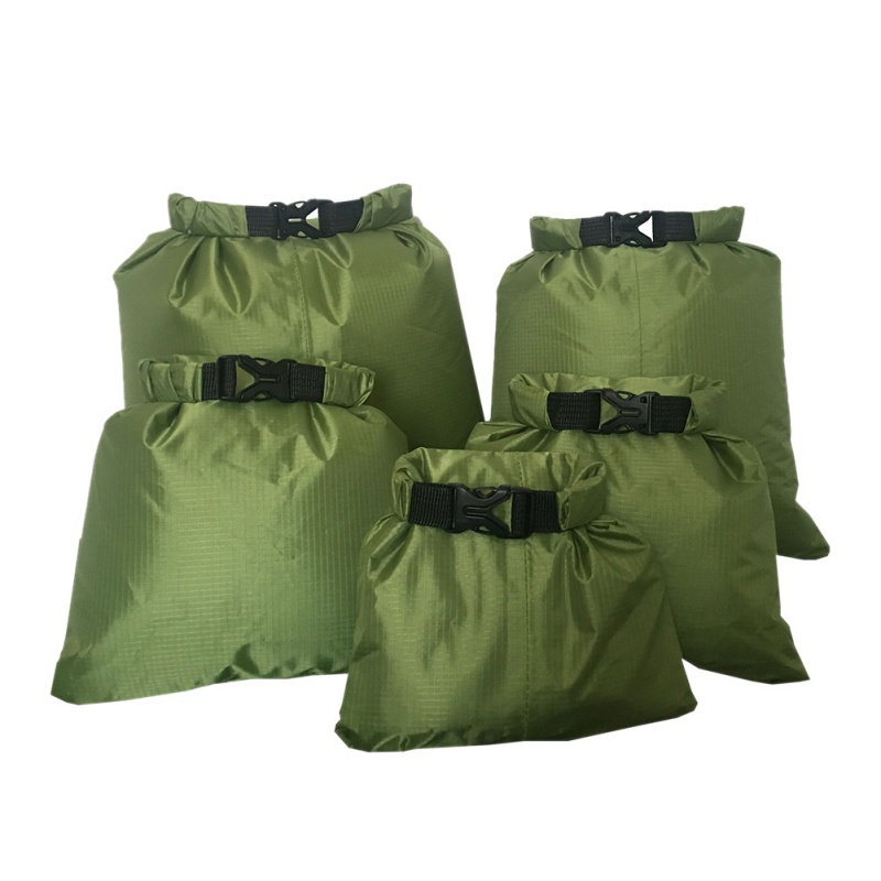 5pcs Waterproof Dry Bag Outdoor Beach Buckled Storage Sack Travel Drifting Swimming Snorkeling Bags Outdoor Portable Bags