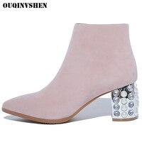 OUQINVSHEN Phụ Nữ Toe gót Nhọn Vuông Khởi Động Bình Thường Fashion Ladies Ankle Boots Tinh Da Chính Hãng Cao Gót của Phụ Nữ Khởi Động