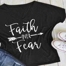 "Women's Christian T Shirt ""Faith Over Fear""  V"