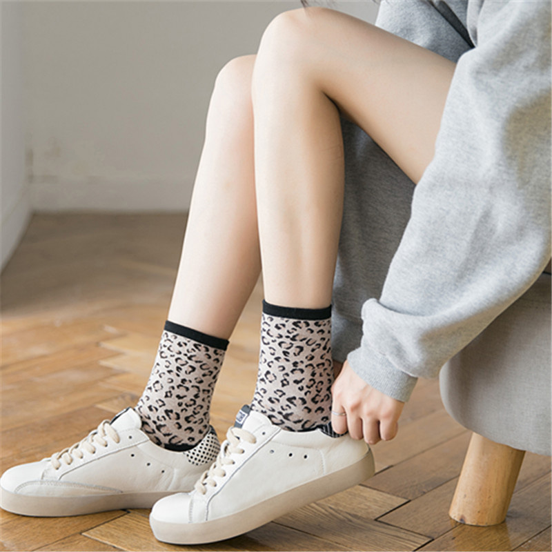 1 Pair Women Lady Socks Leopard Print Breathable Elastic For Winter Autumn -MX8