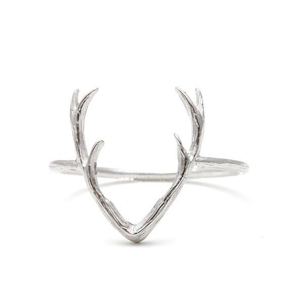 SMJEL Christmas Gifts Metal Silver Deer Antler Rings for Women Stag Animal Horn Durable Rings Reindeer Jewelry Femme Bijoux R136